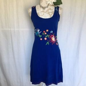 Johnny Was // Blue Embroidered Floral Tank Dress